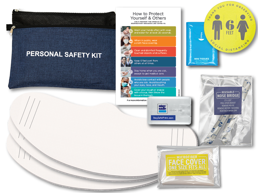 Personal safety kit, hand sanitizer, face covering, reminder card, lapel sticker, tissue package, zipper pouch