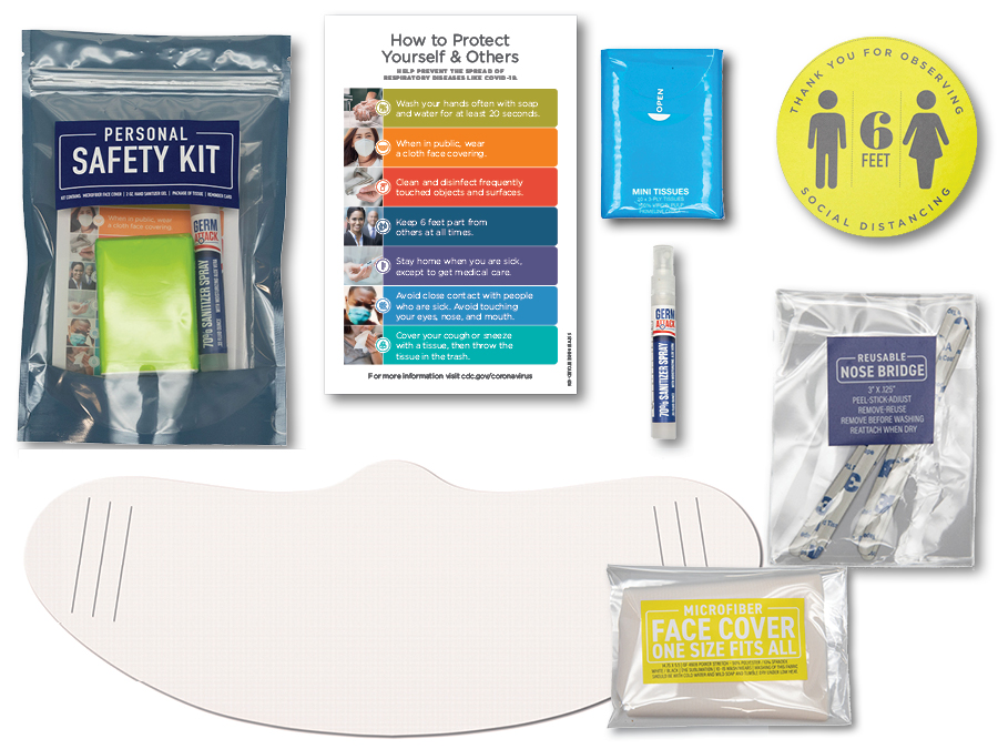 Personal safety kit, hand sanitizer, face covering, reminder card, lapel sticker, tissue package, resealable pouch