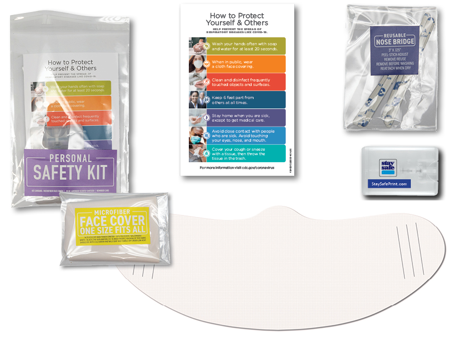 Personal safety kit, hand sanitizer, face covering, reminder card, cello bag