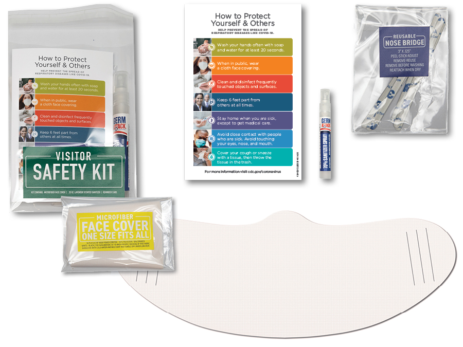 Visitor safety kit, hand sanitizer, face covering, reminder card, cello bag